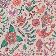 Seamless texture with flowers and butterflies. endless floral pattern.seamles Stock Illustration