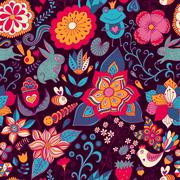 romantic doodle floral texture. copy that square to the side and you'll get s - stock illustration