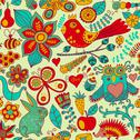 Stock Illustration of forest seamless pattern. floral background.owl, rabbit, butterfly, hedgehog.