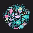 Stock Illustration of illustration of circle made of sea life elements. bright summer outlines made