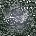 Stock Illustration of chalkboard seamless floral pattern. copy that square to the side,you'll get s