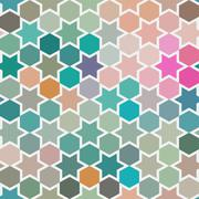 background of repeating geometric stars. spectrum geometric background. retro - stock illustration