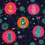 Mitten seamless pattern Stock Illustration