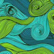 abstract hand-drawn waves texture, wavy background. colorful waves backdrop. - stock illustration