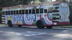 Stock Video Footage of The Magic bus is standing on the road San Francisco Site Seeing Tour
