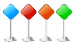Four metallic pedestal sign message boards Stock Illustration