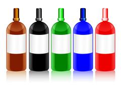 glass bottles with blank labels in different colors - stock illustration