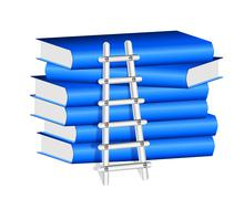 Ladder  against a stack of blue books Stock Illustration