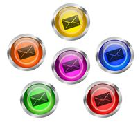 mail envelope icon button - stock illustration