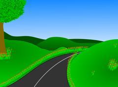 Vehreää maaseutua tie Piirros