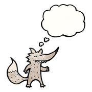 Stock Illustration of cartoon wolf with idea