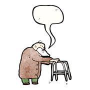 elderly man cartoon - stock illustration