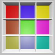 Square colorful product display show rack Stock Illustration