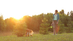 Girl and dog in nature in the evening in summer, sun rays Stock Footage
