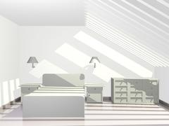 sunlit penthouse bedroom with sky roof - stock illustration