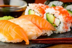 sushi closeup - stock photo