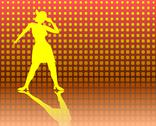 Stock Illustration of tap dancing lady on a jazzy background