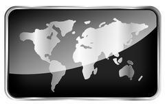 World map on a black tab Stock Illustration