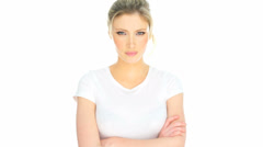 Blonde housewife in a bad mood Stock Footage