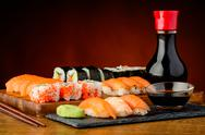 Stock Photo of still life with mixed sushi plate