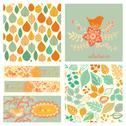 Stock Illustration of vector autumn set, seamless pattern with leaf, autumn leaf background.autumn