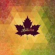 Vector autumnal maple leaf background made of triangles. retro background wit Stock Illustration