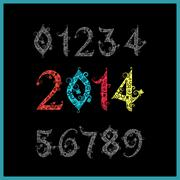 vector new year 2014 (two thousand and thirteen). set of stylized numbers. el - stock illustration