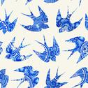 Stock Illustration of vintage pattern with little swallows, seamless pattern with birds, watercolor