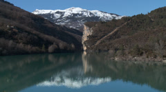 Chaudanne Reservoir Mountain Reflection Stock Footage