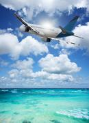 jet over the tropical sea - stock photo