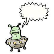 cartoon alien invader - stock illustration