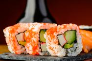 Stock Photo of california rolls sushi closeup