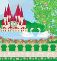 Stock Illustration of landscape with a beautiful castle , gardens and two swans