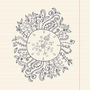 Doodles floral frame on grunge paper, vector illustration. hand drawn floral  Stock Illustration
