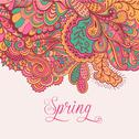 "Stock Illustration of decorative element, lace border. ""spring"" lettering. template wave design. ve"