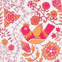 Stock Illustration of winter time seamless texture with flowers, birds and butterflies. seamless pa