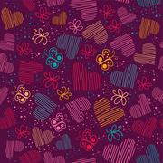 seamless pattern with hearts, and butterflies.copy square to the side and you - stock illustration