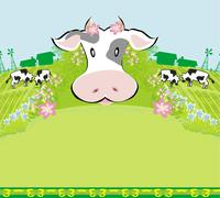 Stock Illustration of cows graze in the meadow - abstract  funny illustration