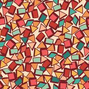 seamless texture with geometric shapes, mosaic endless pattern - stock illustration