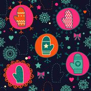 mitten seamless pattern. copy square to the side and you'll get seamlessly ti - stock illustration