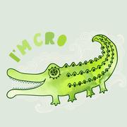 Stock Illustration of cartoon crocodile illustration in watercolors, cartoon illustration with kind