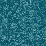 seamless texture with flowers and birds. endless floral pattern.seamless patt - stock illustration