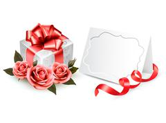 Greeting card with a ribbon, a present and three roses. holiday background. v Stock Illustration