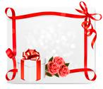 Stock Illustration of holiday background with pink roses and gift box. vector illustration.