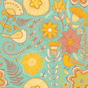 seamless texture with flowers and butterflies. endless floral pattern.seamles - stock illustration