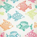 Stock Illustration of fish pattern in abstract style. copy square to the side and you'll get seamle