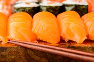 Stock Photo of nigiri sushi with salmon