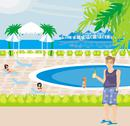 Stock Illustration of tourists at the pool