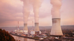 Nuclear Power Station At Sunset - stock footage