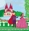 Stock Illustration of the princess and the prince in a beautiful garden